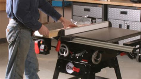 sawstop cabinet saw outfeed table tool review sawstop contractor s saw finewoodworking