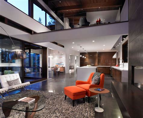 Great Room with Loft and kitchen - Modern - Living Room