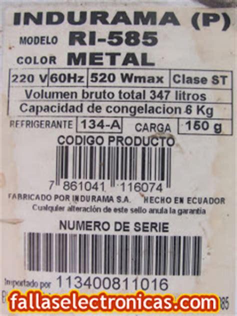 diagrama refrigerador no indurama modelo ri 585 fallaselectronicas