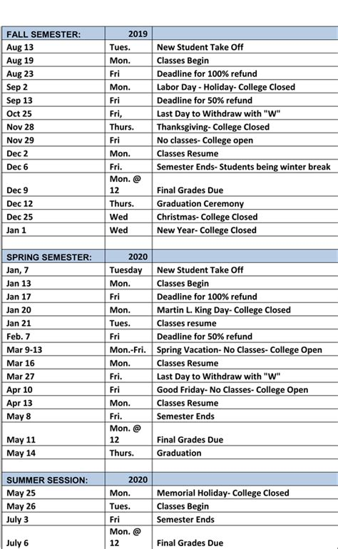 academic calendar good samaritan