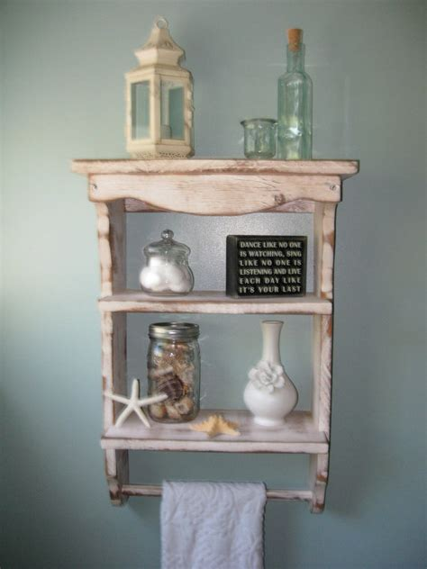 bathroom wall shelves casual cottage wood shelf towel holder shabby country cottage french