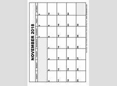 November 2018 Calendar Template monthly calendar template