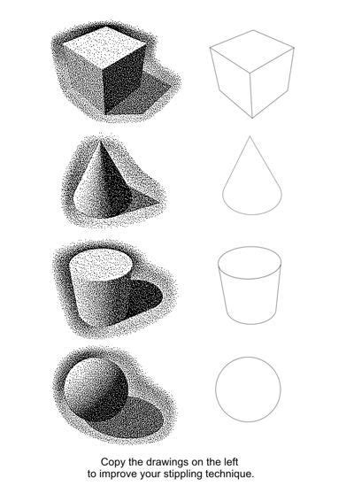 pointillism drawings exercises  worksheets
