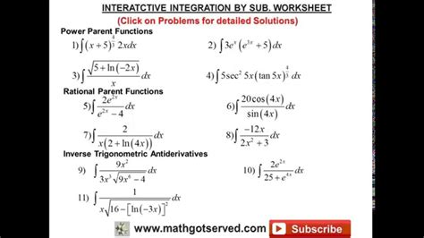 integration by u substitution interactive worksheet