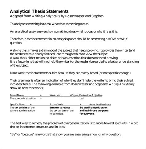 Thesis Statement Template 7 Thesis Statement Exles In Word Pdf Free