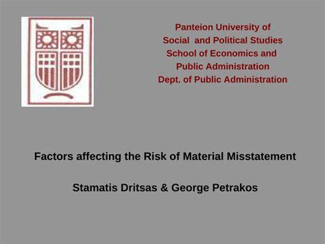 factors affecting  risk  material misstatement