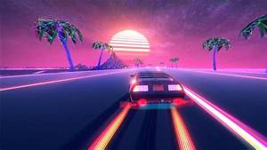retro, wave, pink, neon, outrun, car, hd, vaporwave, wallpapers