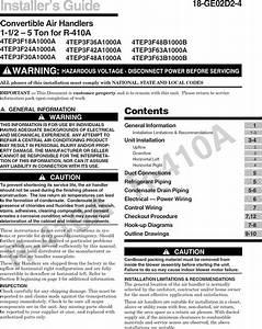 Trane Air Handler  Indoor Blower U0026evap  Manual L0905036
