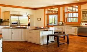 White Melamine Kitchen Cabinets With The Oak Trim