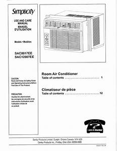 Simplicity Air Conditioner Sac8017ee User Guide