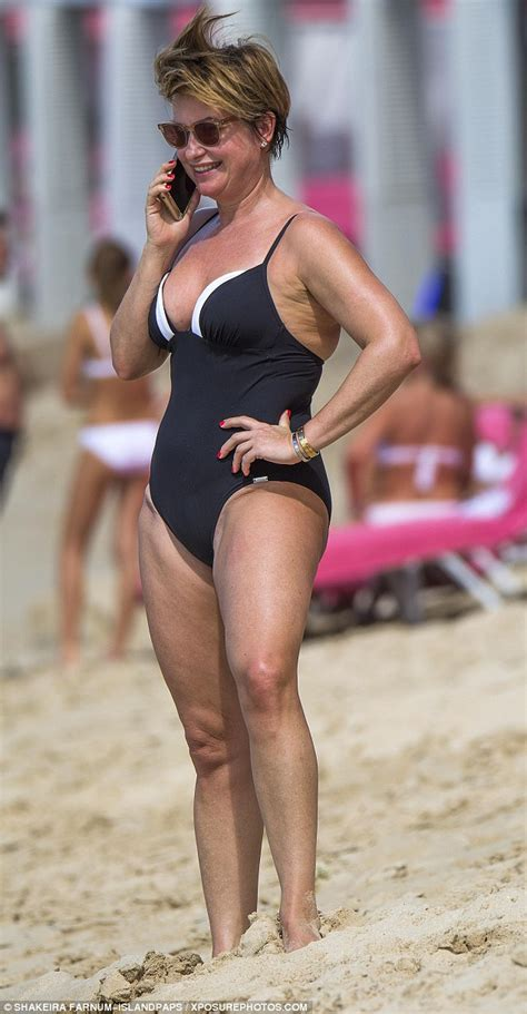 emma thompson swimsuit emma forbes wears black and white swimsuit as she