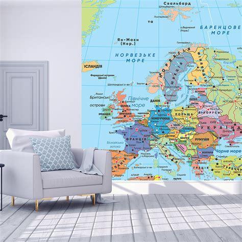 Фотообої Карта Європи купити на стіну • Еко Шпалери