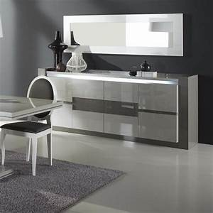 Renoir Sideboard In Taupe And Grey Gloss With Lights And