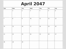 April 2047 Online Printable Calendar