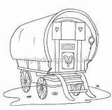 Gypsy Caravan Coloring Colouring Drawing Moulin Vergnes Wagon sketch template