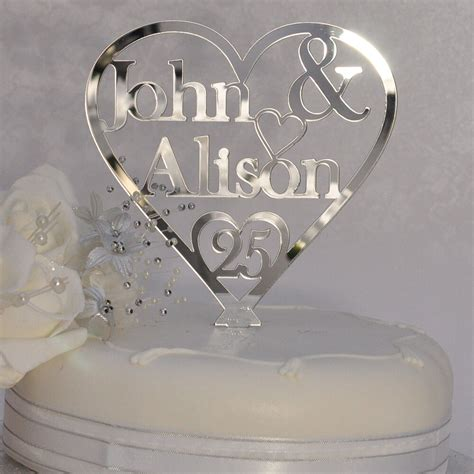 personalised names heart cake topper  silver