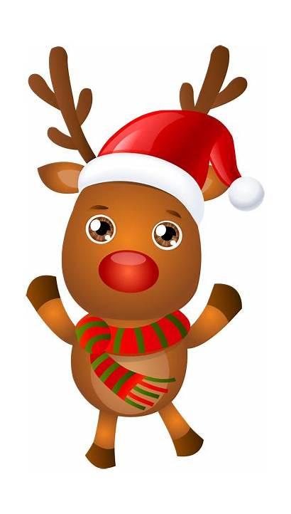 Reindeer Rudolph Clip Santa Christmas Clipart Transparent