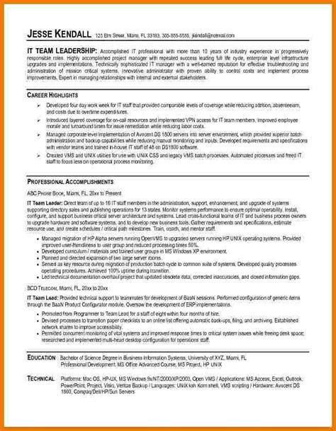 team leader resume for bpo resume of team leader sle