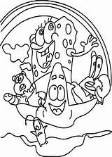 Coloring Sea Sponge Waves Wave Cartoon Bob Wecoloringpage Sunger Fly sketch template