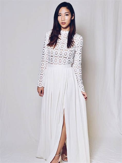 Bianca Long Sleeve Lace Maxi Dress In White Ashley Summer