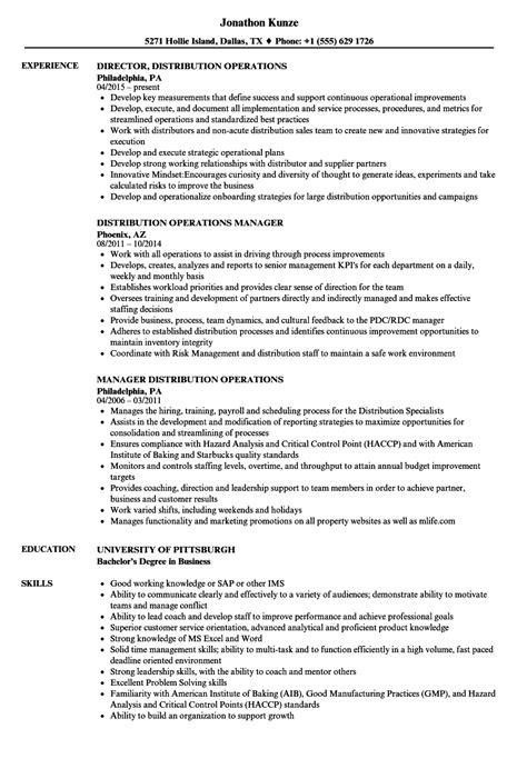 distribution operations resume samples velvet jobs