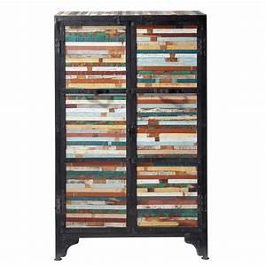 cabinet de rangement en metal noir l 75 cm bahia maisons With cabinet maison du monde