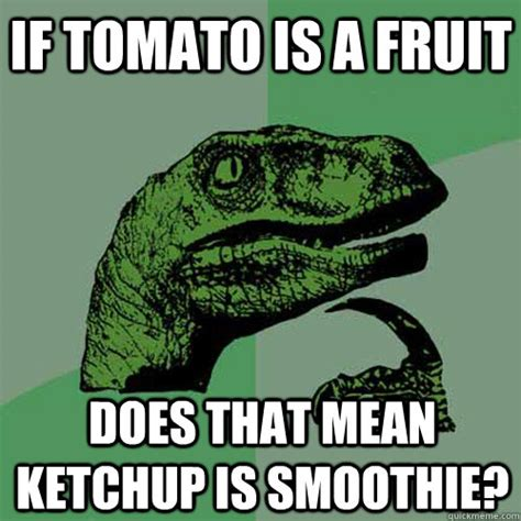 Tomato Meme - if tomato is a fruit does that mean ketchup is smoothie philosoraptor quickmeme