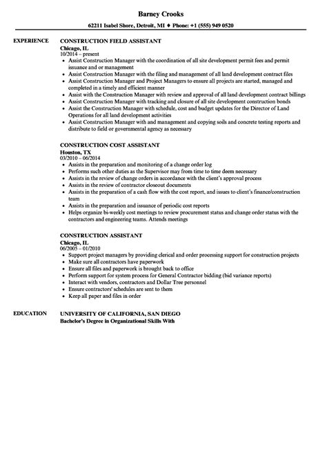 construction assistant resume sles velvet