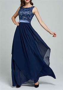 navy blue patchwork lace irregular chiffon wedding gowns With navy blue maxi dress for wedding