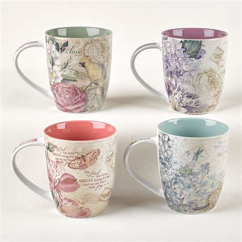 floral coffee mugs floral inspirations set of four coffee mug 1019