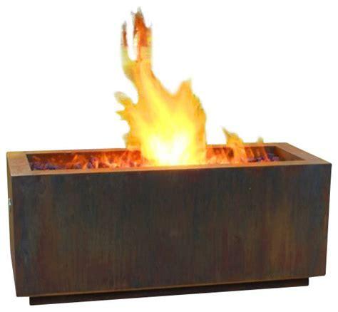 Rectangular Weathering Steel Fire Pit, Wood Burning Style