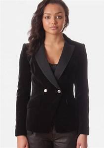 Montil Velvet Women's Blazer Black and Purple
