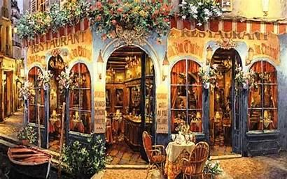 Cafe Paris Street Painting Wallpapersafari Restaurant Desktop