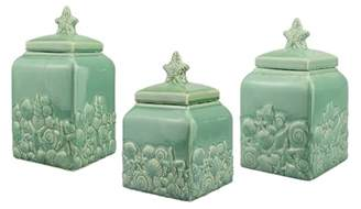 teal kitchen canisters coastal seashell ceramic teal blue canister set home decor shabby accent ebay