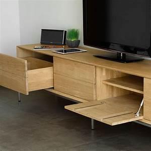 Meuble Tv En Chene : meuble tv 2 tiroirs 2 portes kubico ch ne massif ~ Teatrodelosmanantiales.com Idées de Décoration