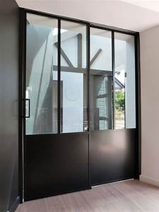 Porte double vantaux coulissant a galandage verrieres d for Porte de garage coulissante et porte d interieur double vantaux