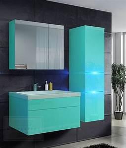 Badezimmer Spiegelschrank Led : kaufexpert badm bel set prestige 1 lichtgr n hochglanz lackiert keramik waschbecken badezimmer ~ Indierocktalk.com Haus und Dekorationen