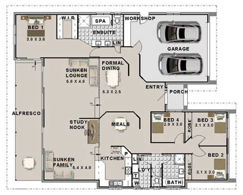 bedroom house plans double garage home plans etsy