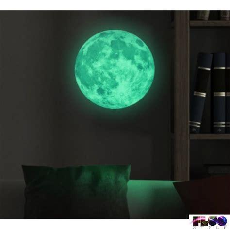 phosphorescent fluorescent glow   dark full moon sticker