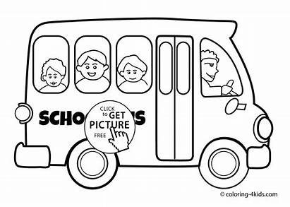 Coloring Bus Pages Transportation Printable Drawing