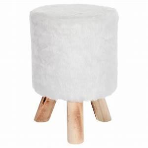 Pouf Fourrure Blanc : tabouret blanc fourrure d 30 x h 45 cm ~ Teatrodelosmanantiales.com Idées de Décoration
