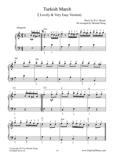 download turkish march mozart very easy version sheet