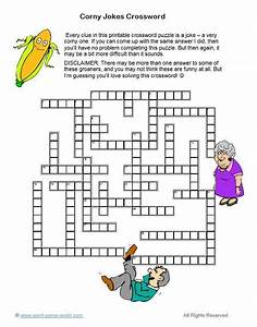 A Printable Crossword Puzzle All About Corny Jokes