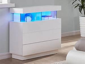 Commode Laqué Blanc : commode fabio mdf laqu blanc leds 3 tiroirs ~ Teatrodelosmanantiales.com Idées de Décoration