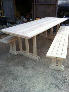 cross leg  leg picnic table  benches  golden oak
