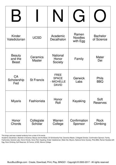 Michelle David Graduation Bingo Cards to Download, Print