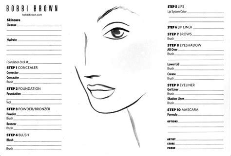 Blank Bobbi Brown Makeup Face Template
