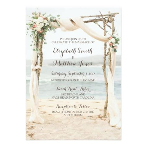 Tshirt Wording Template by Beach Arbor Wedding Invitation Zazzle