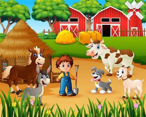 Agricultor E Animal De Fazenda No Terreiro Desenho