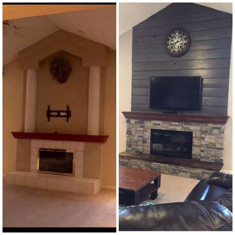fireplace diy makeover  barnwood shiplap cleaned